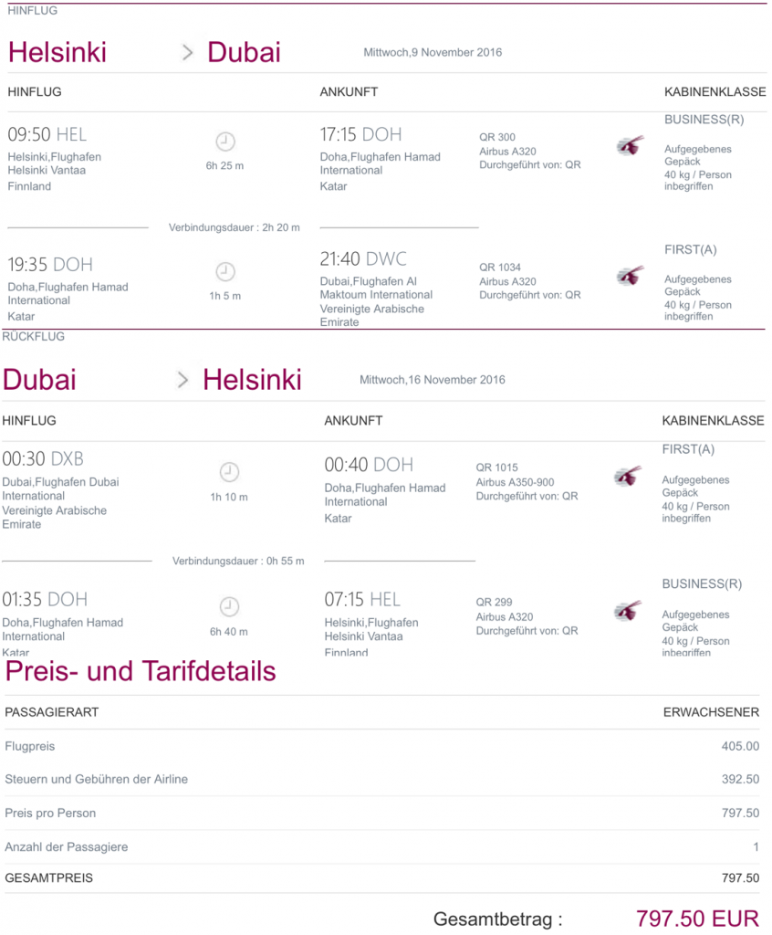 Qatar Airways Business Class Angebote nach Dubai