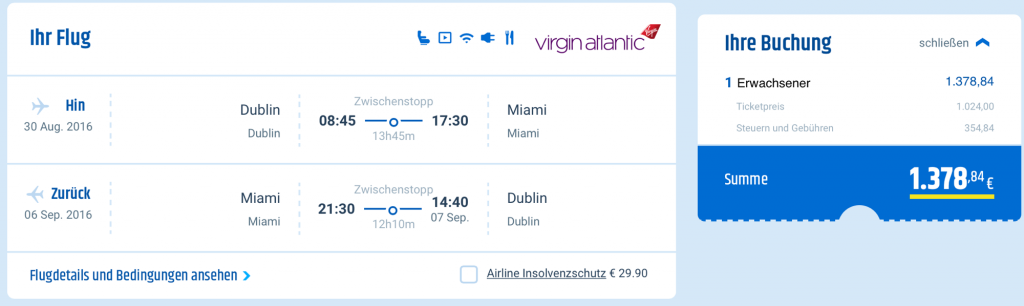 Virgin Atlantic Business Class Angebote