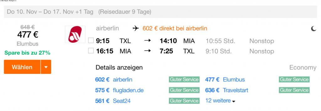 InsideDeals airberlin nach Miami