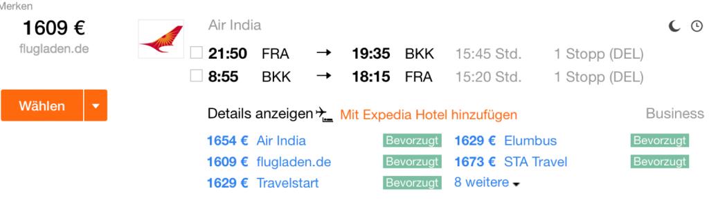 InsideDeals Air India nach Bangkok
