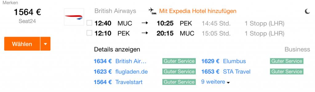 InsideDeals British Airways nach Peking