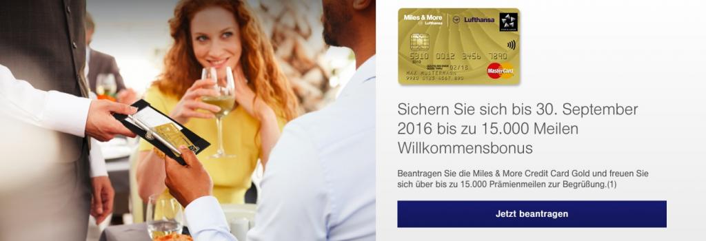 15.000 Meilen mit der Miles and More Kreditkarte sammeln