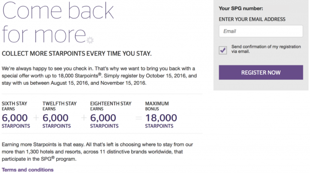 SPG Select Member Exclusive Promotion