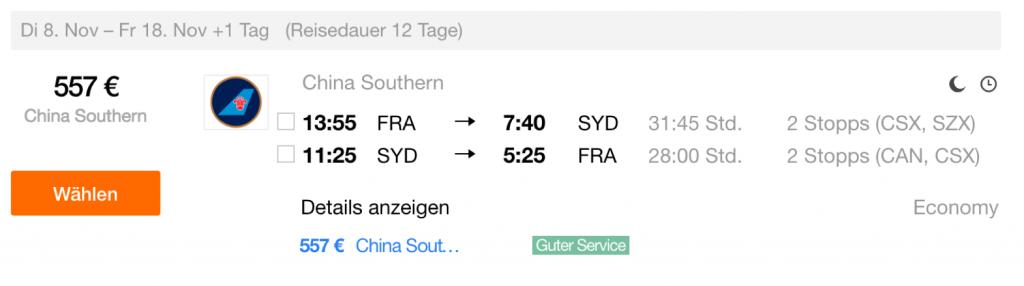 InsideDeals China Southern nach Sydney