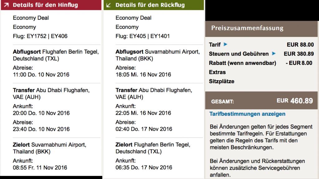 InsideDeals 10 Prozent Rabatt bei Etihad Airways