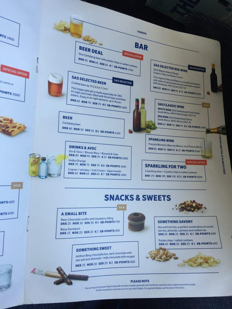 SAS Economy Class - Snackkarte