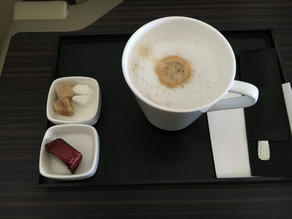 Etihad Airways Business Class Cappuccino