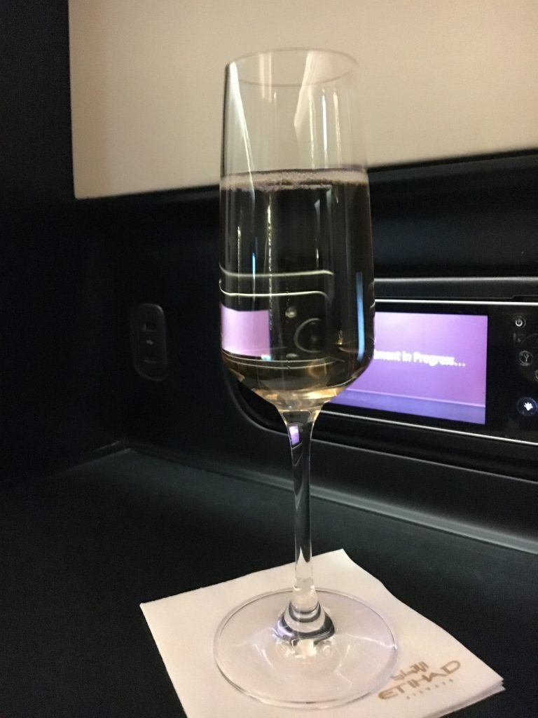 Etihad Airways Business Class Studio Welcome Drink