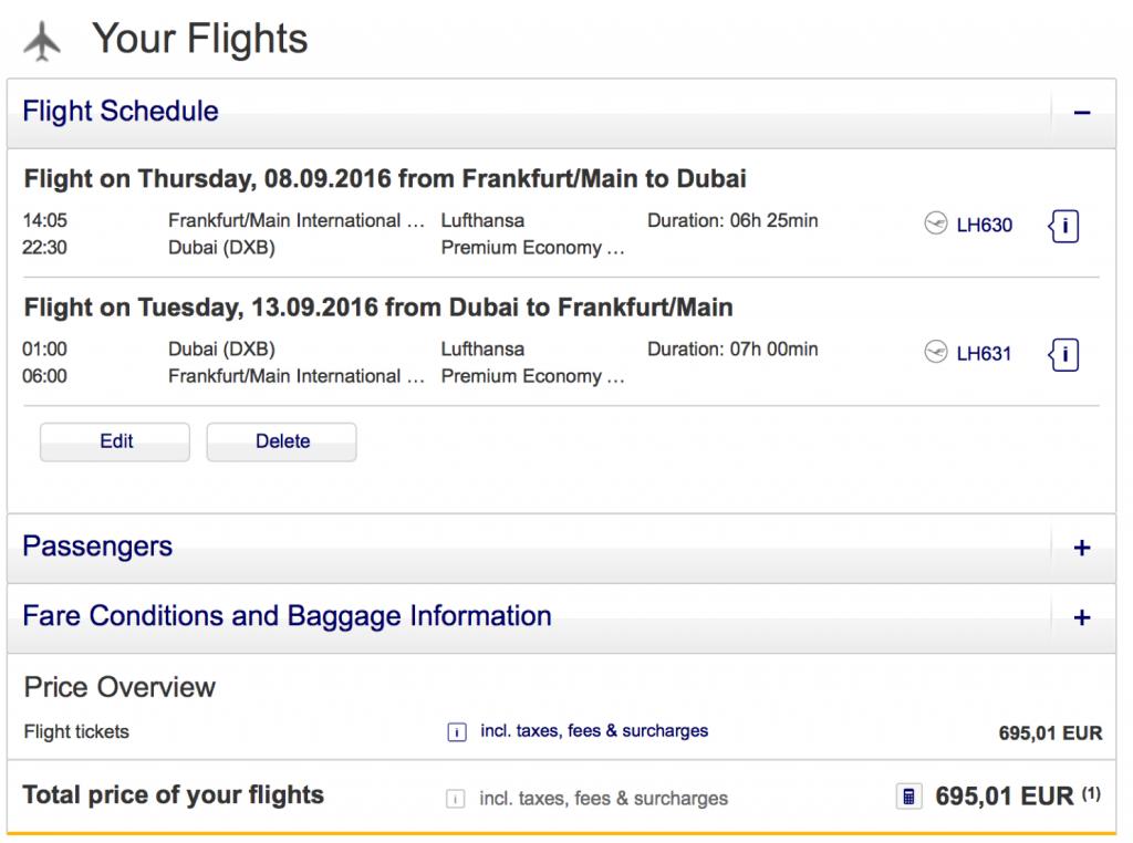 Lufthansa Premium Economy Class Angebote nach Dubai