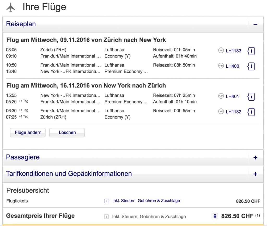 Lufthansa Premium Economy Class Angebote nach  New York