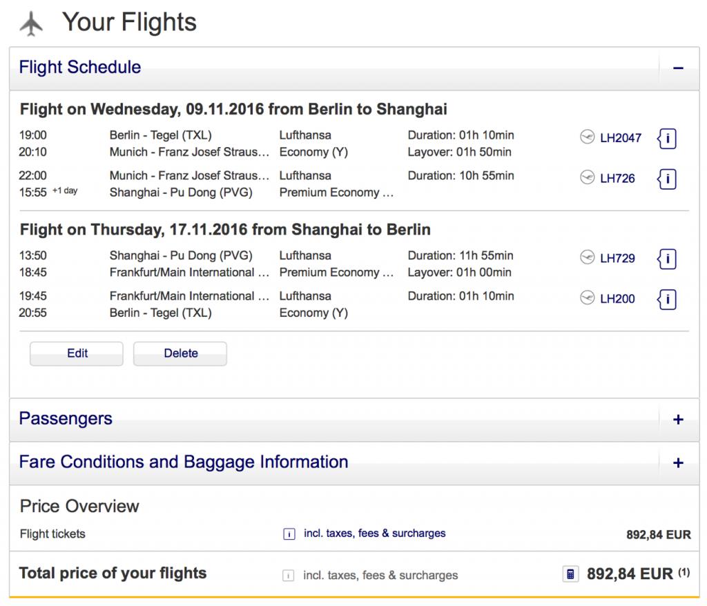 Lufthansa Statusmeilen in der Premium Economy Class sammeln