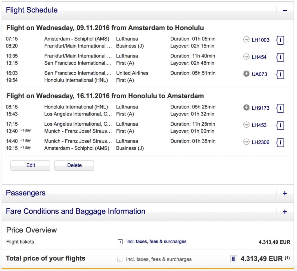 Lufthansa Statusmeilen nach Honolulu sammeln