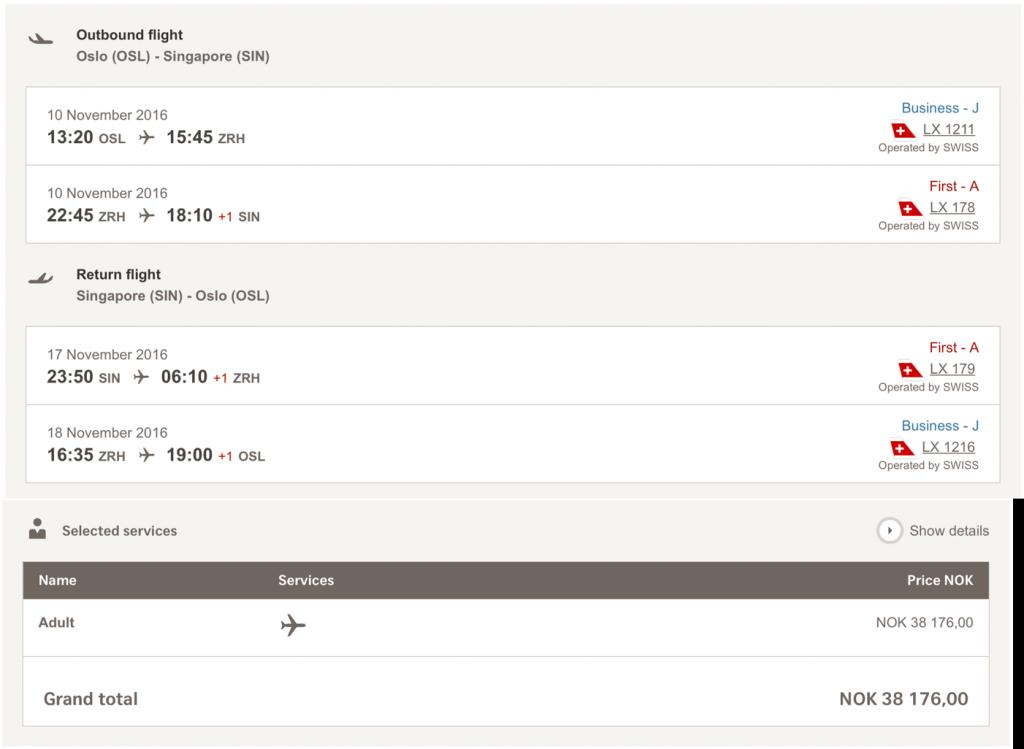 Lufthansa Statusmeilen mit SWISS nach Singapur sammeln