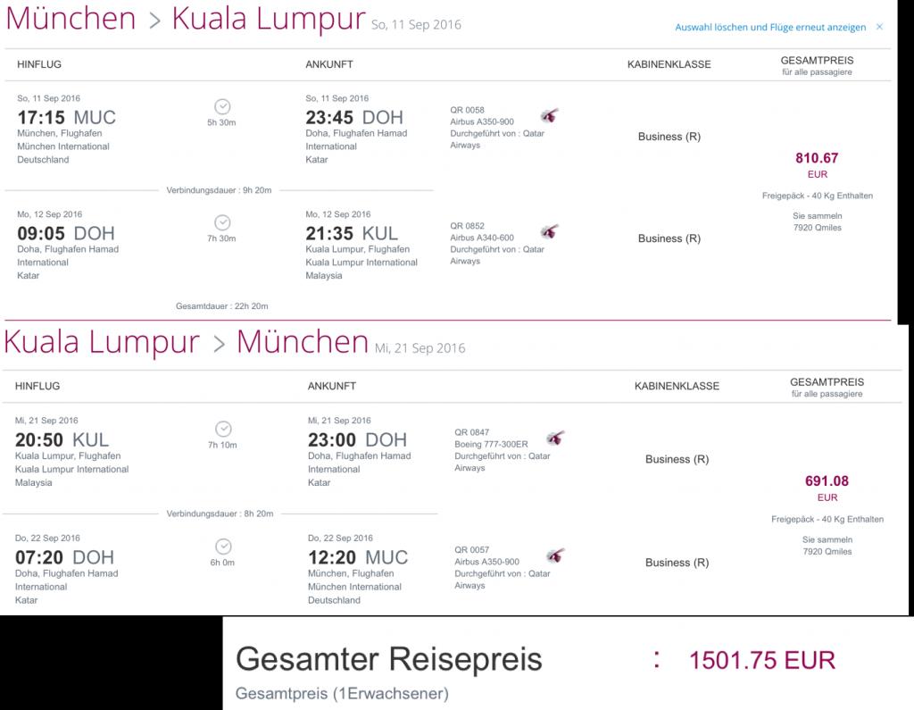 Qatar Airways Business Class Flash Sale nach Kuala Lumpur