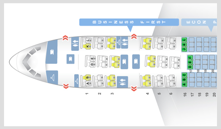 United Airlines Domestic First Class - Layout