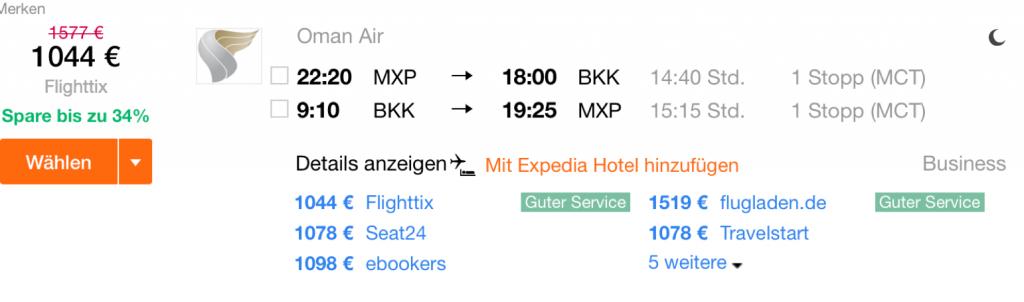 InsideDeals mit Oman Air nach Bangkok