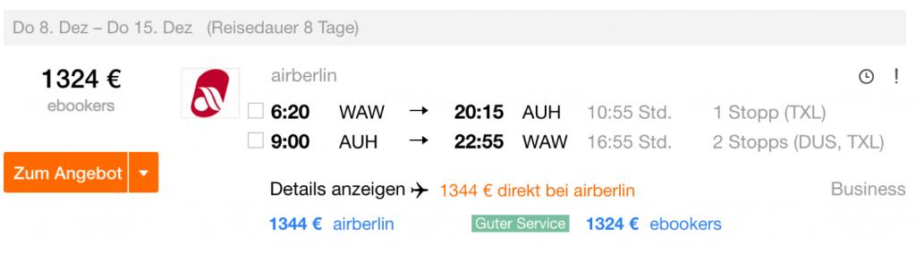 InsideDeals airberlin nach Abu Dhabi