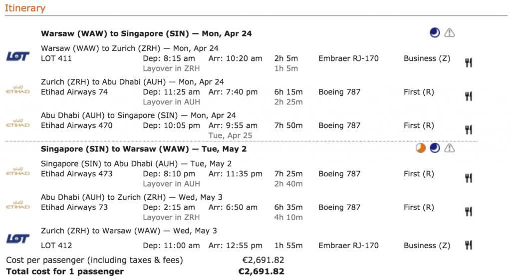 Etihad First Class Angebote nach Singapore