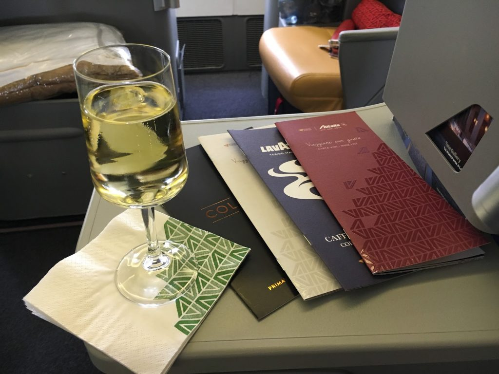 Alitalia Business Class Welcome Drink