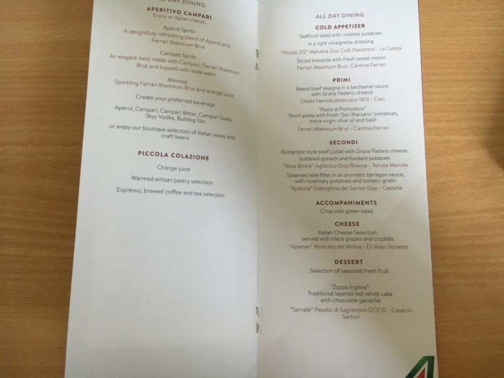 Alitalia Business Class Menükarte