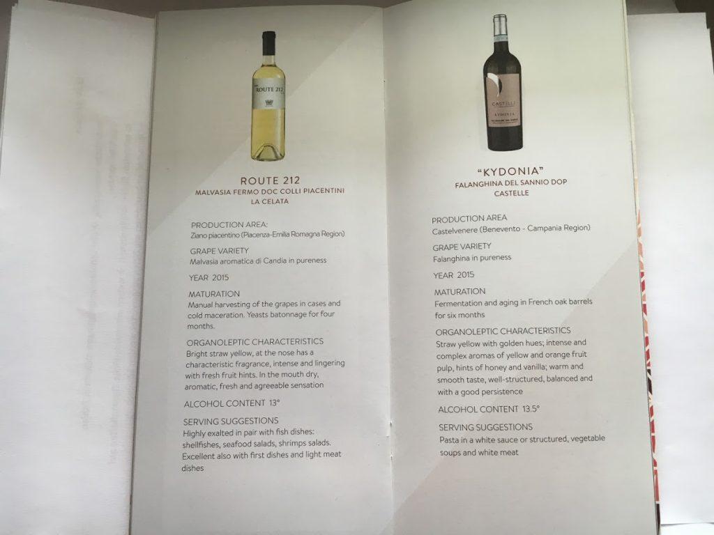Alitalia Business Class Weinkarte