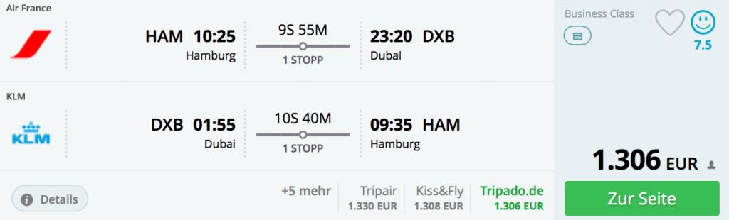 InsideDeals KLM nach Dubai