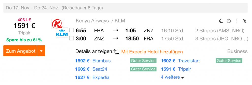 InsideDeals KLM nach Sansibar
