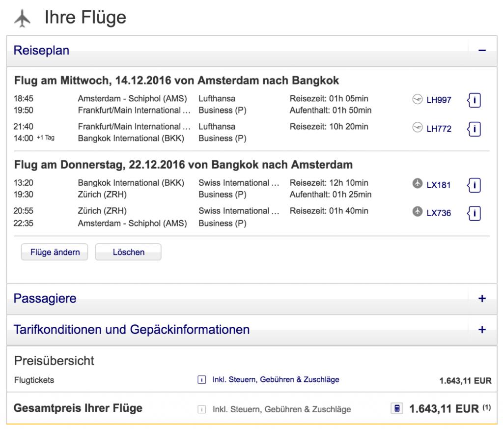 InsideDeals Lufthansa Business nach Bangkok