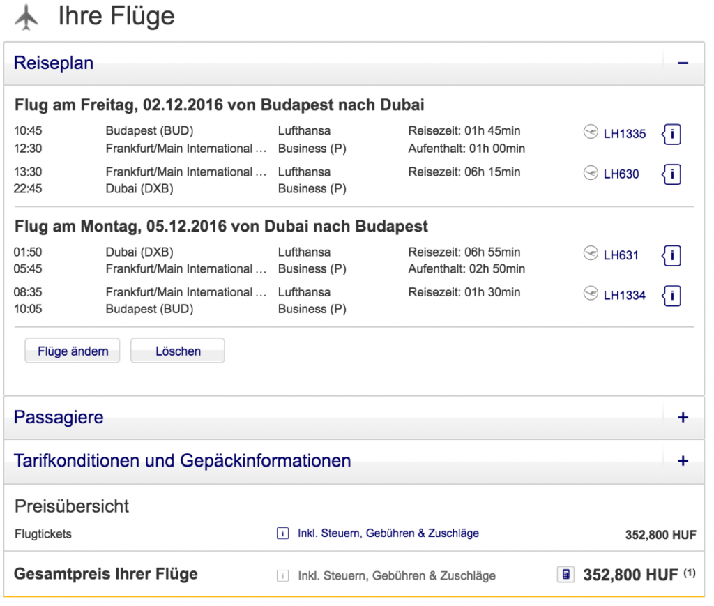 Lufthansa Business Class nach Dubai