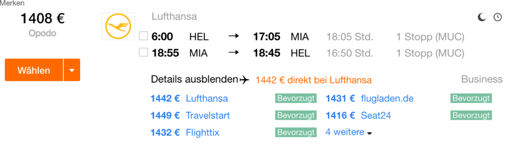 Lufthansa Business Class Angebote nach Miami