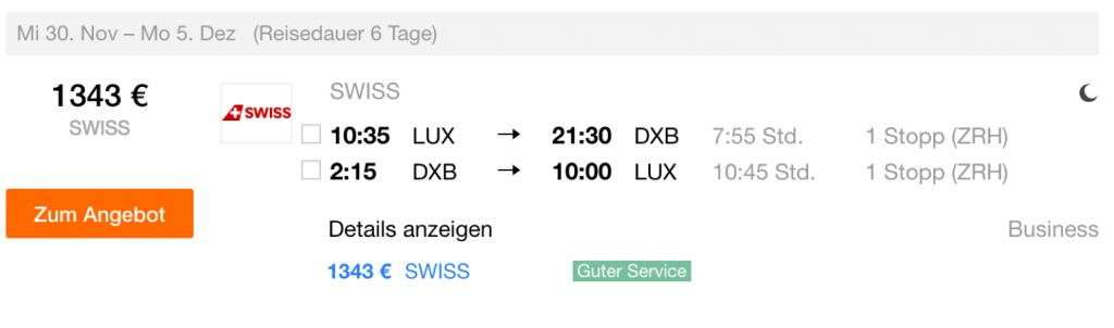 InsideDeals SWISS nach Dubai