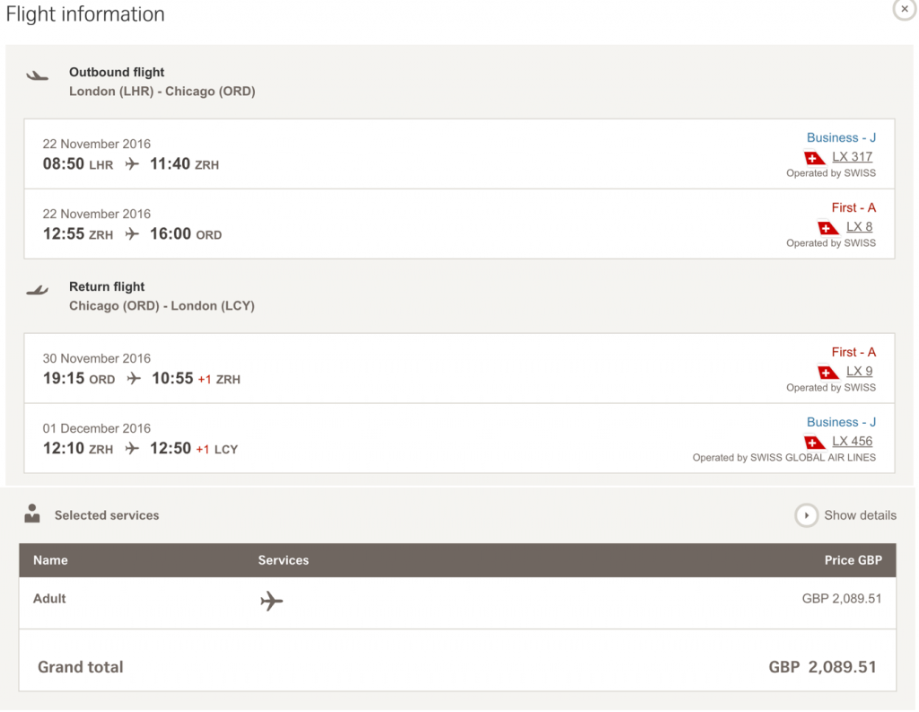 SWISS First Class Sale nach Chicago