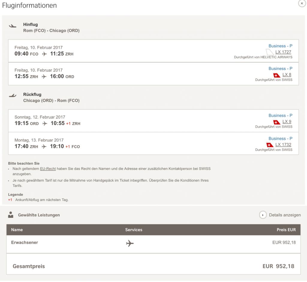 Swiss Business Class Angebote nach Chicago