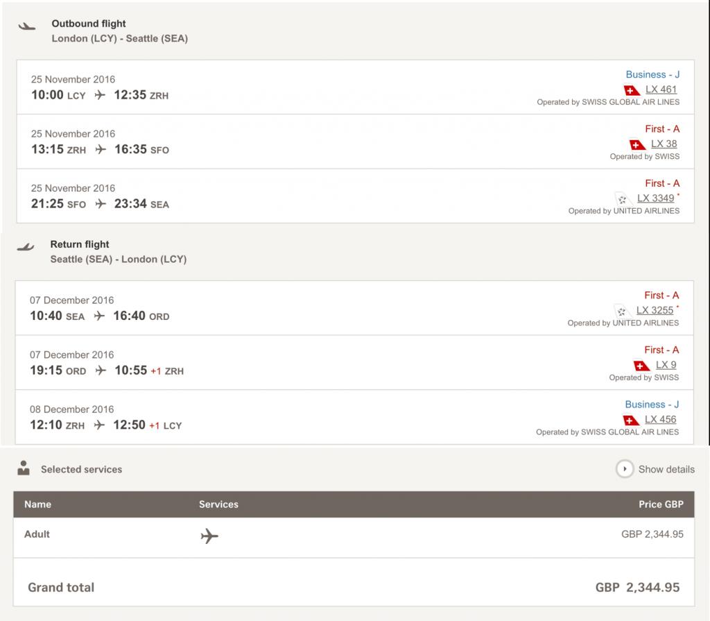Lufthansa Statusmeilen in der SWISS First Class sammeln