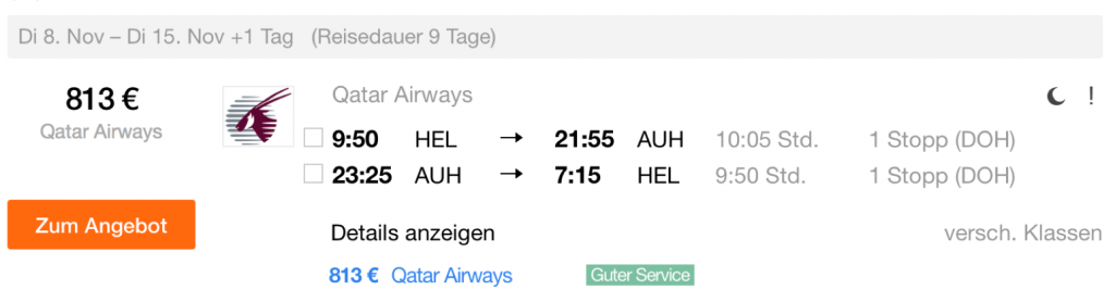 Qatar Airways Business Class Sale nach Abu Dhabi