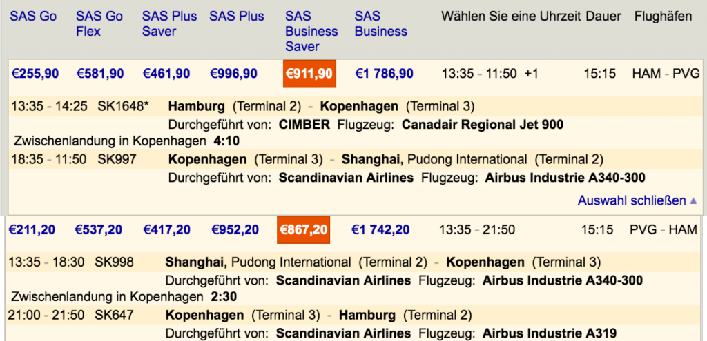 SAS Business Class Angebote nach Shanghai