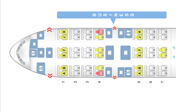 Qatar Airways Business Class - Boeing 777 Seat map