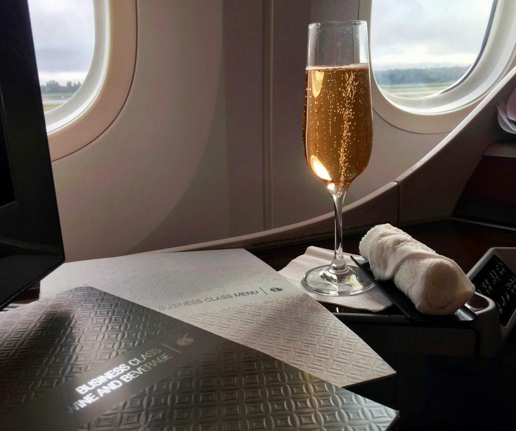 Qatar Airways Business Class - Welcome Drink