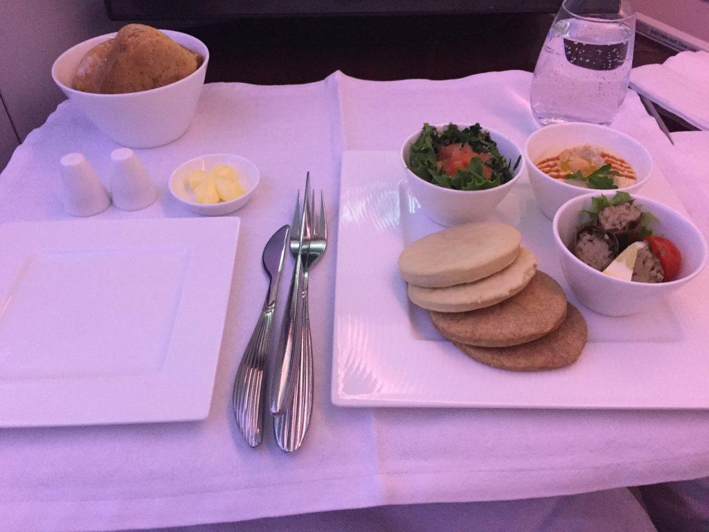 Qatar Airways Business Class - Arabic mezze