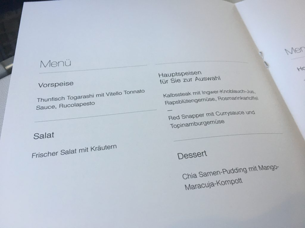 Lufthansa Business Class Speisekarte