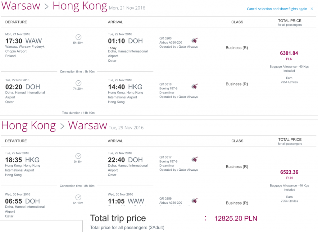 Qatar Airways Business Class Partner Sale nach Hongko