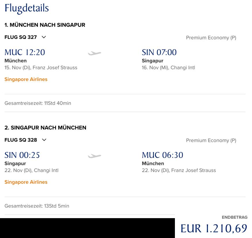 Lufthansa Statusmeilen mit Singapore Airlines sammeln