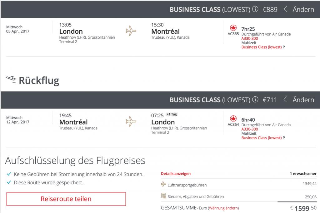 Lufthansa Business Class Angebote nach Nordamerika