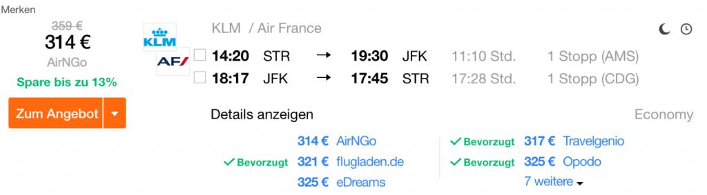 Günstig nach New York fliegen mit KLM und Air France