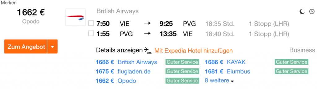 British Airways Business Class nach Asien