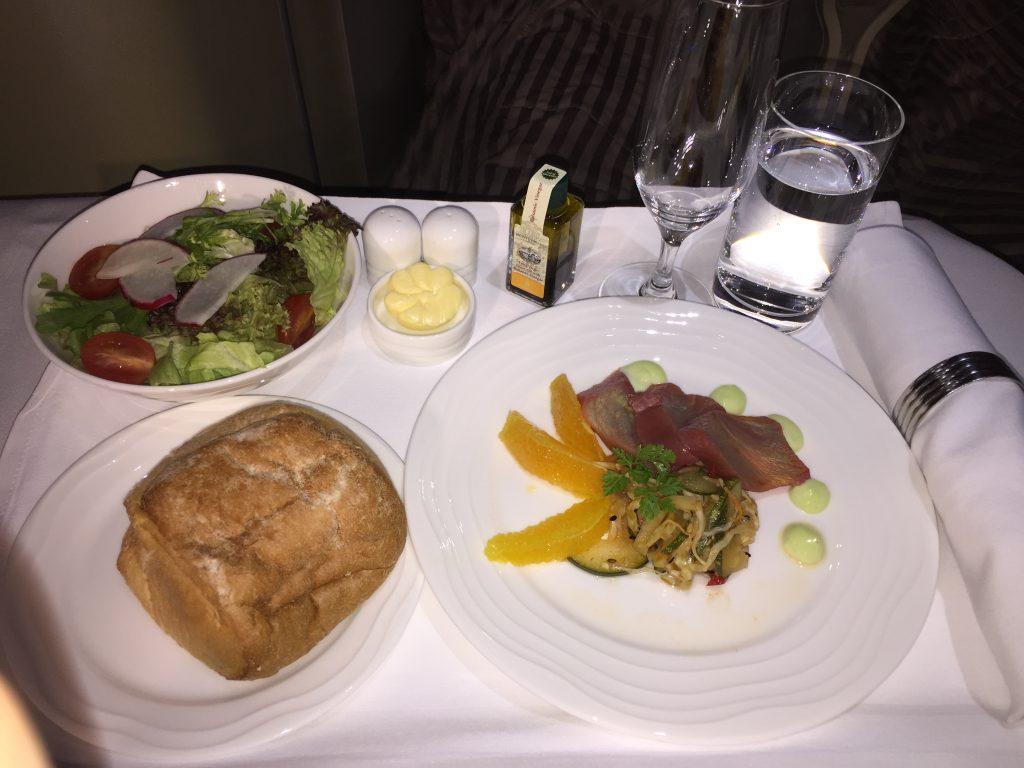 Emirates Business Class Dinner