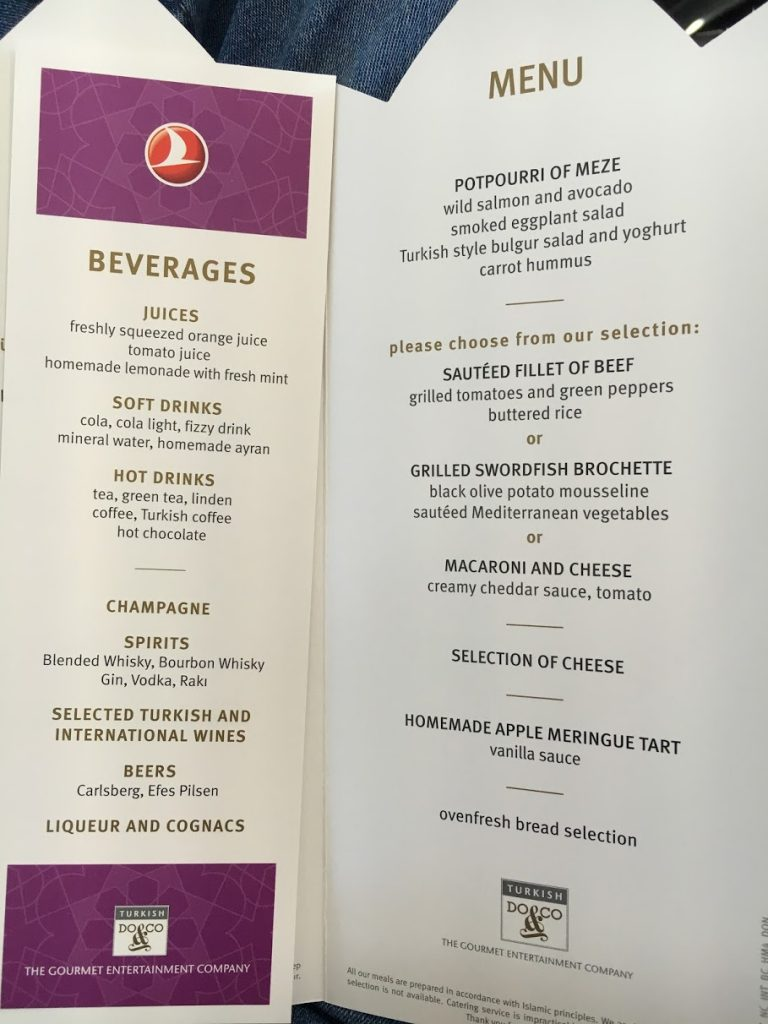 Turkish Airlines European Business Class Catering