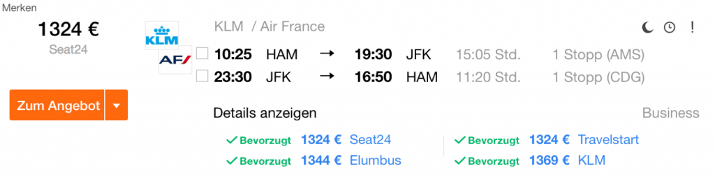 Business Class Sale in die USA