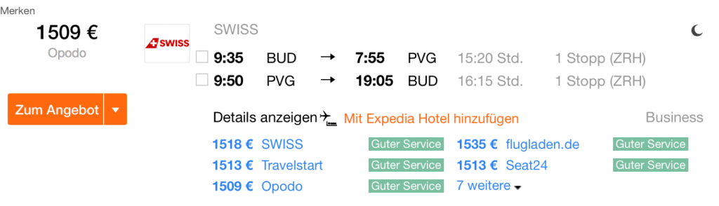 SWISS Business Class Angebote