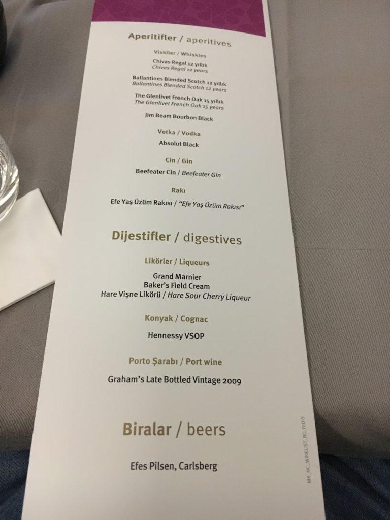 Turkish Airlines Business Class Spirituosen